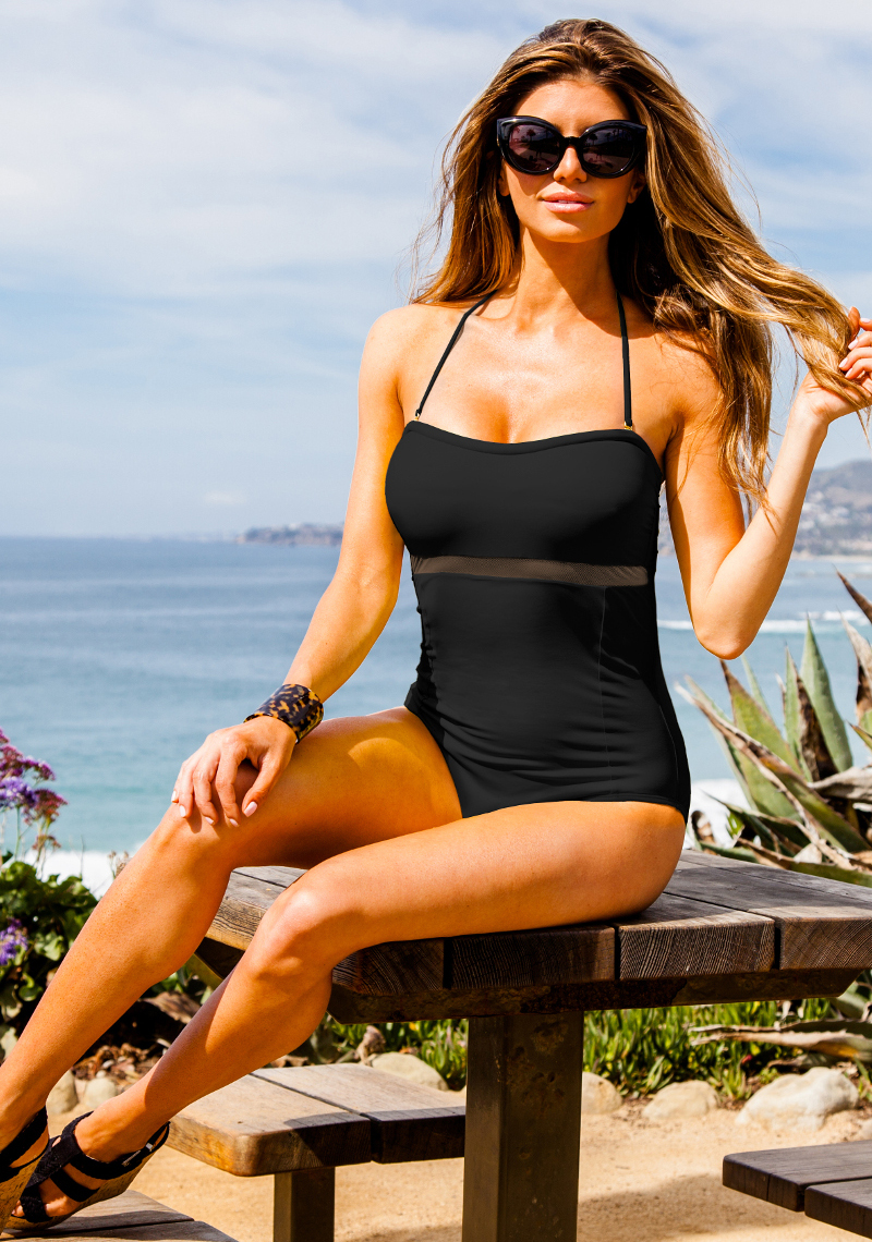 La Digue Mesh Strapless Maillot Black