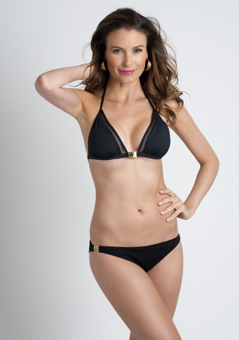 Mai Mesh Panel Triangle Bikini - Black