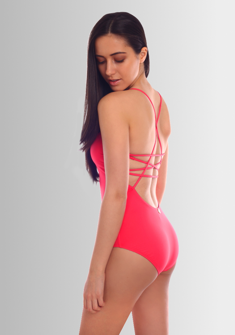 Skala Keyhole Lattice Maillot - Fuchsia