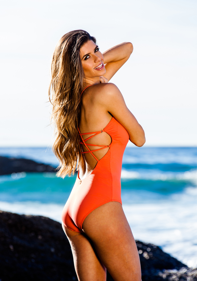 Skala Keyhole Lattice Maillot - Coral