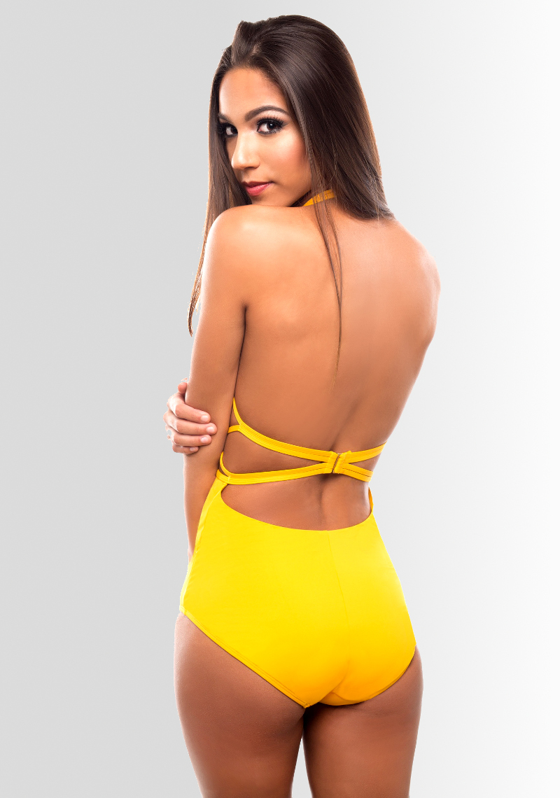 Naomi High Waist Retro Maillot - Sunset