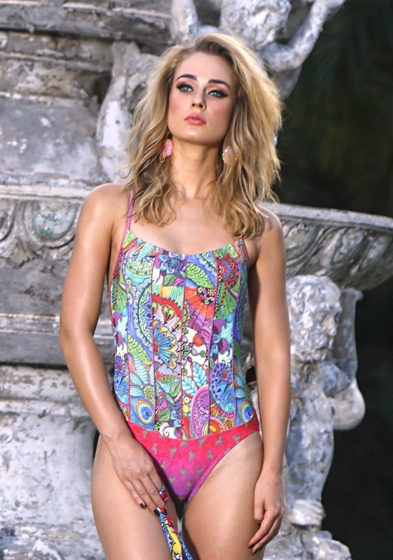 Corset Mailot One-piece Swimsuit - Pink Paisley