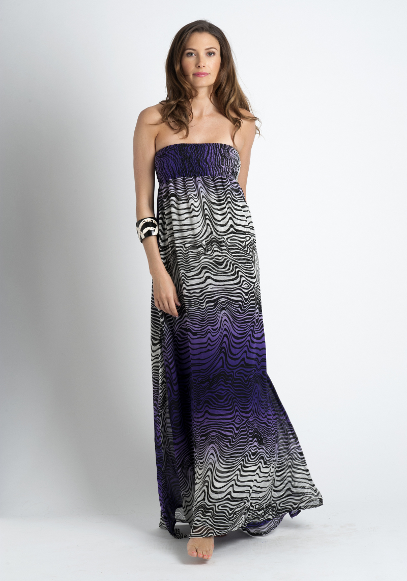 Silk strapless Slit Maxi