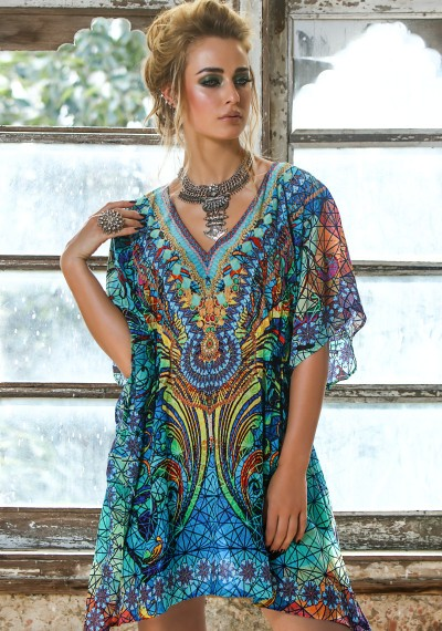Butterfly Mosaic Kaftan with Hand Embroidery